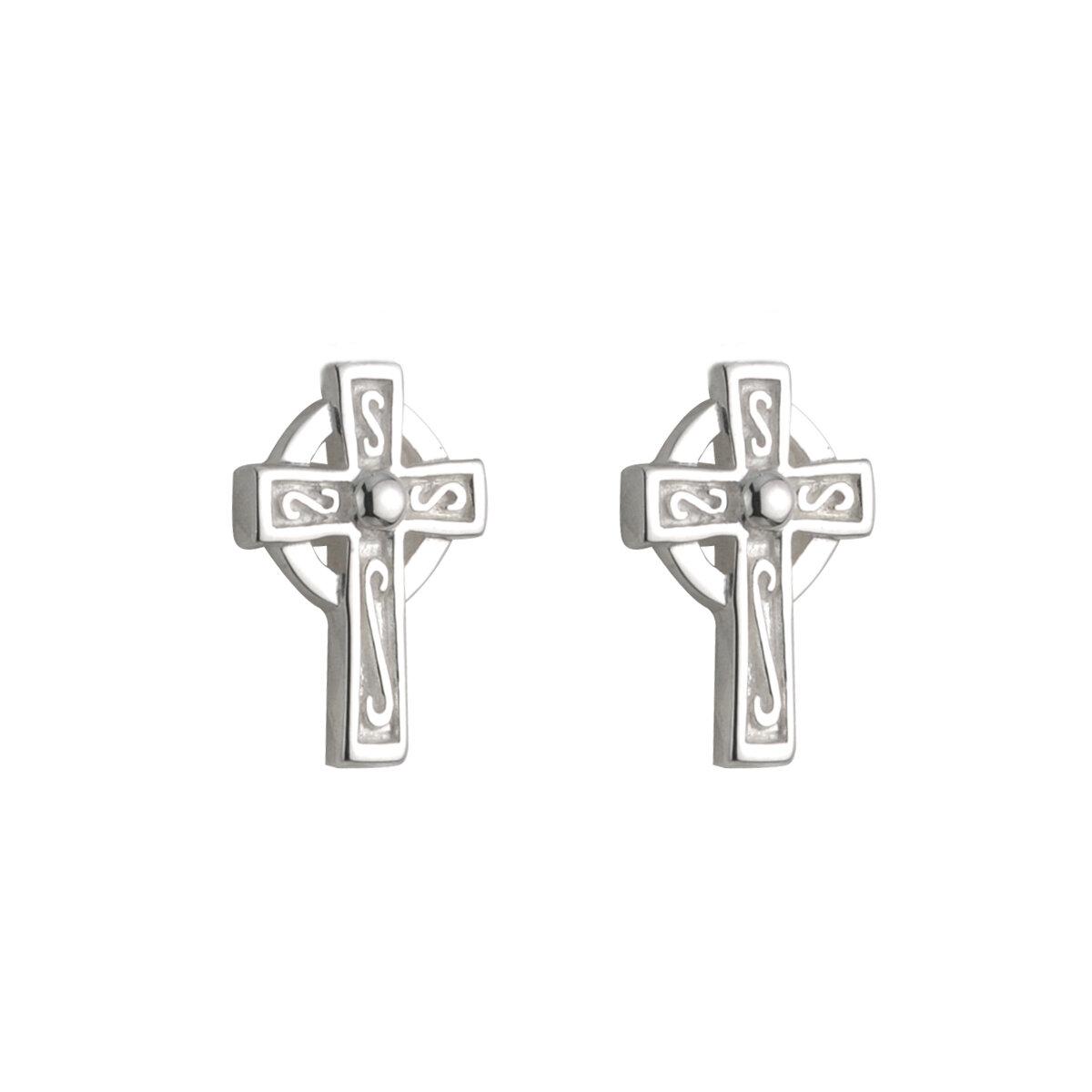 sterling silver small cross stud earrings s33274 from Solvar