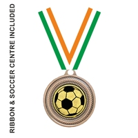40mm Soccer Medal & TRI Ribbon (Bronze)