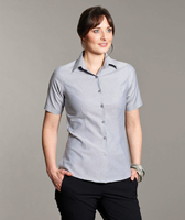 Disley Ladies Silver Oxford Short Sleeve Blouse