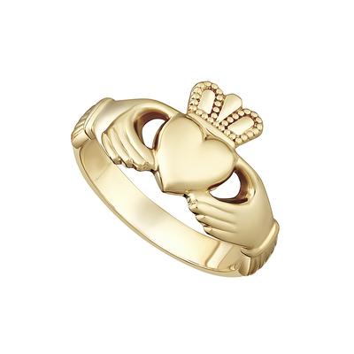 14K HEAVY MAIDS CLADDAGH RING