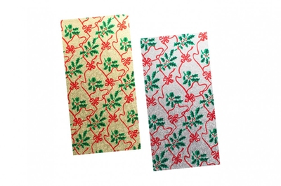 """12D-XLG08 8x4"""" Asst Christmas printed Single thick Log cards, Shrinkwrapped 25pk"""