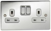 DETA Flat Plate 2gang Socket Chrome with White Insert | LV0201.0292