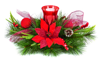 60Cm Red Poinsettia Candle Holder