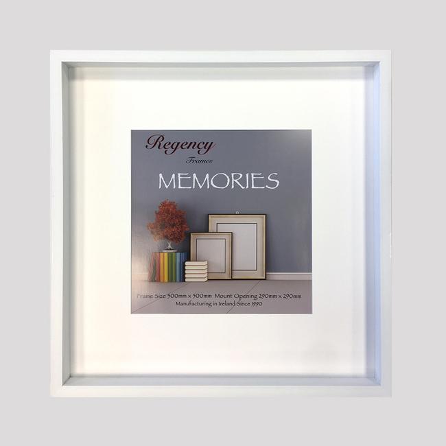 Memories Box Frame White 50 x 50cm - Acorn Framing