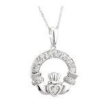 14k white gold diamond claddagh pendant s45603 from Solvar