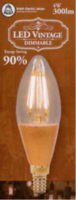 4W LED VINTAGE CANDLE  AMBER DIMMABLE LAMP 240 VOLT SES  300 LUMEN 2000K 15000 HOUR