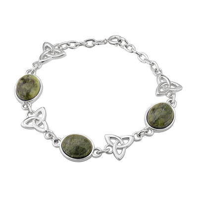 RHODIUM MARBLE TRINITY KNOTS LINKED BRACELET
