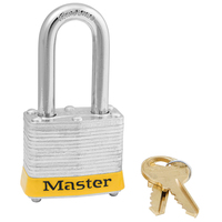 Master Lock Yellow laminated steel safety padlock, 40mm wide with 38mm tall shackle, keyed alike