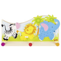 Zebra, lion and elephant children's coat hook