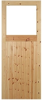 Framed and Sheeted Door with Opening Red Deal 78x30 inch