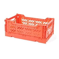 CRATE FOLDING PLASTIC ORANGE 40X30X10CM