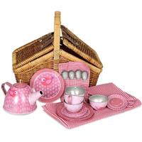 Play picnic bird tea set in a wicker basket