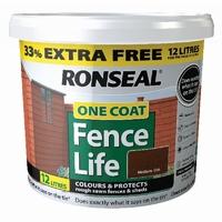 RONSEAL FENCELIFE MEDIUM OAK 9LTR + 33% FREE