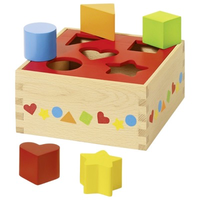 Wooden shape sorting toy for toddlers