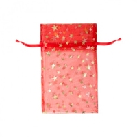 ORGANZA BAG RED GOLD STAR 12.5CMX20 CM PKT 50