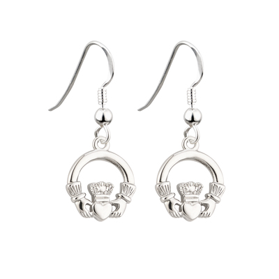 RHODIUM  CLADDAGH DROP EARRINGS