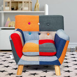 Annah Linen Patchwork Kids Chair IN ROOM SETTING