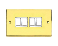 VICTORIAN BRASS HERITAGE SWITCH 4 GANG 2 WAY