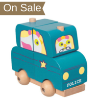 Wooden toddler stacking police car toy with wheels