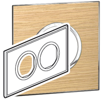 Arteor (British Standard) Plate 2x2 Module 2 Gang Round Light Oak | LV0501.2721