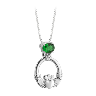 S/S CRYSTAL CLADDAGH PENDANT(BOXED)
