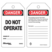 Master Lock Danger do not operate - safety tag