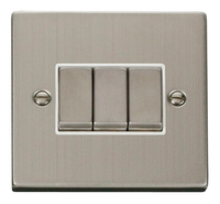 Click Deco Victorian Stainless Steel with White Insert 3 Gang 2 Way 'Ingot' Switch | LV0101.0101