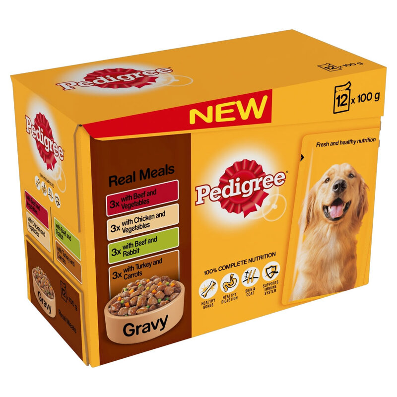 Pedigree Pouch Real Meals Gravy 4 x 12 x 100g