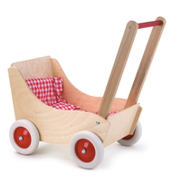 Toy wooden doll's pram with red and white gingham bedding
