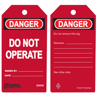 Master Lock Red danger do not operate - safety tag