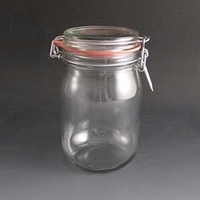clip top storage jar .