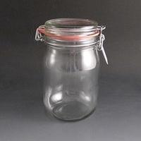 clip top storage jar .