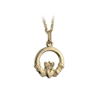 Ten karat Small Claddagh Pendant on ten karat gold 18 inches sing chain