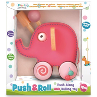 Wooden toddler pink elephant push and roll toy - in packaging