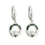 sterling silver connemara marble claddagh drop earrings s33590 from Solvar
