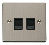 Click Deco Victorian Stainless Steel with Black Insert Twin RJ45 Socket | LV0101.1847