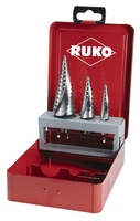 Ruko HSS Step Drill 3 Piece Sizes 0/9, 1 and 2 in Steel Case 101026