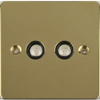 Flat Plate Polished Brass 2G TV/FM COAX Black IN LV0701.0562