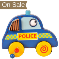 Wooden police car push and roll toddler toy