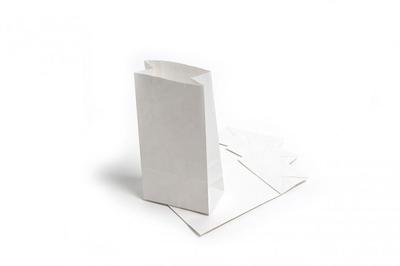 "SOS Block Bottom White Kraft Paper Bag 5""x8.5""x9.75"""