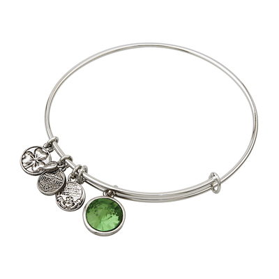 RHODIUM BIRTHSTONE CHARM BANGLE - AUGUST