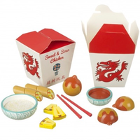 wooden food play set - Chinese takeaway