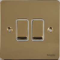 Flat Plate Polished Brass 16AX 2G 2 Way Switch WHITE | LV0701.0116
