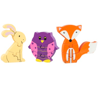 wooden puzzle set - woodland friends - a rabbit, an owl and a fox