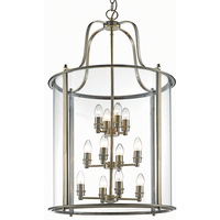 12 Light Panel Lantern Antique Brass