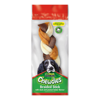 "Chewdles 8"" Braided Stick with Duck & Peanut Butter x 1"