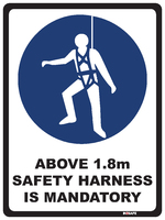 Mandatory Sign - Above 1.8m Safety Harness Is Mandatory