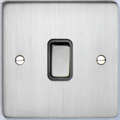 DETA Flat Plate 1gang switch Satin Chrome with Black Insert   LV0201.0160