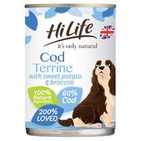 HiLife 'ION' Dog Can Cod Terrine with Sweet Potato & Broccoli 395g x 6