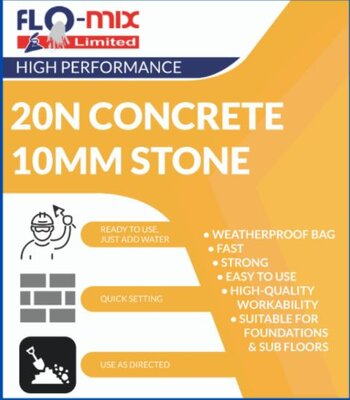 Flo-Mix 20N Concrete Drymix 20Kg bag (add water)